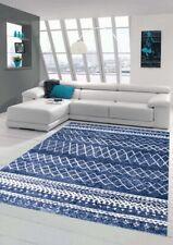 Alfombra de sala de estar moderna con adornos en crema azul