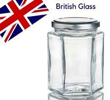 72 x 8oz /195ml HEXAGONAL GLASS JAM JAR, CHUTNEY, PICKLE, HONEY - FREE DELIVERY
