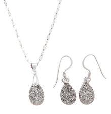 Sterling Silver Tear Drop Platinum Drusy Quartz Pendant and Earrings Set