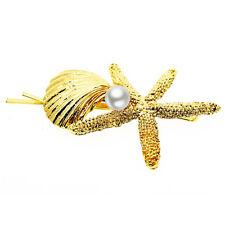 Gold Starfish or Seashell Hair Bridal Party Evening Decoration Slide Pin HA313