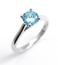 Aquamarine Diamond-Unique 1ct Solitaire Ring Solid Silver