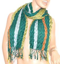 SCIARPA donna scialle VERDE AZZURRO ARANCIO lana stola écharpe schal шарф 50