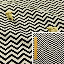 BLACK WHITE Fat Quarter/FQ/Meter 100%Cotton Fabric Stripe Chevron Sew Quilting