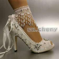 """Tassel white ivory satin lace ribbon peep toe Wedding shoes 3"""" 4"""" heel size 5-11"""