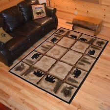 Lodge Cabin Rustic Bear Pine Rustic Wildlife Area Rug **FREE SHIPPING**
