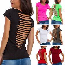T-shirt donna maglia schiena nuda tagli tagliata ripped maniche corte JL-629