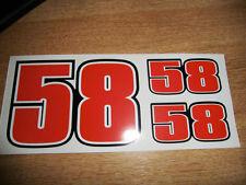 Marco Simoncelli #58 Race Number set -  58 (x3) MotoGP