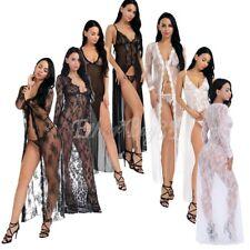 Women Lace Floral Long Dress Gown Thongs Babydoll Lingerie Bath Robe Sleepwear