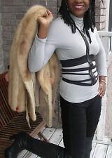 Elegant Whimsical Victor Nelson Tan brown Mink Fur Coat Jacket Stroller S-M 2-9