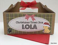 PERSONALISED PET CHRISTMAS TREAT GIFT BOX PRESENT BROWN KRAFT FILLER CAT - EMPTY