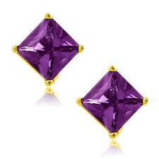 Amethyst Square Princess Cut CZ Crystal YG 925 Sterling Silver Stud Earrings