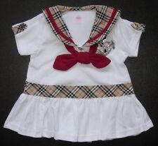Bébé fille robe en coton doux Blanc ou Beige Designer Soirée robe, vêtements décontractés