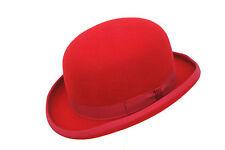 haute qualité Rouge dur 100% LAINE CHAPEAU MELON - bordé de satin - Tailles S à