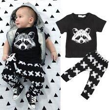 2pcs Newborn Toddler Kids Baby Boys Outfits T-shirt Tops+Pants Clothes Set