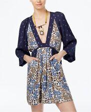 New Free People Women Chiffon Boho Blue Print Mini Dress  XS S M L