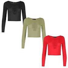 New Womens Mini Vest Laser Cut Crop Top 8-14
