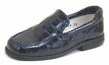 DE OSU/FARO B-6024 - Girls' Euro Navy Blue Croc Patent Leather Loafers - Sz 10-8