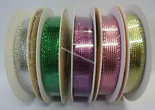 3 Metres Metallic Ribbon 8mm For Sewing, Craft, Scrapbooking, Card Making, Trim