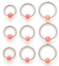 1 PIECE16g  Pink Agate Organic Stone Captive Bead Ear Tragus Ring 4MM Bead