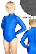 Kinder Turnanzug lange Ärmel Kragen RRV Body Anthrazit stretch glänzend Leotard