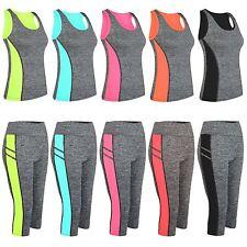 Ladies Vest Capri Leggings Women Active Mid-Calf Pants Tight Panel Detail S-XL