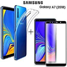 COVER per Samsung Galaxy A7 2018 CUSTODIA + PELLICOLA VETRO TEMPERATO CURVO 5D