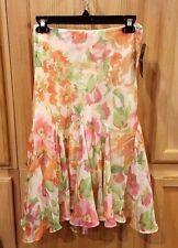 Ralph Lauren Multi-Floral Print Chiffon Godet Drop Waist Skirt 200614109001 $115