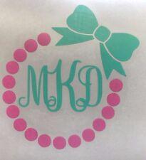 Pearl Necklace Bow Initials Vinyl Decal Vine Monogram Sticker Tumbler Yeti Chic