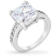 5.2 TCW Princess Round Pave CZ Cubic Zirconia Bridal Wedding Ring Size 5-10
