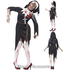 CL936 Zombie Bloody Sister Mary Nun Priest Halloween Fancy Dress Horror Costume