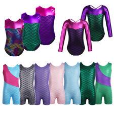 Girls Gymnastic Leotard Unitards Kids Ballet Dancewear Biketard Mermaid Bodysuit