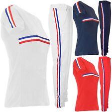 Womens Ladies Striped Sweatshirt Cap Sleeve Top Pants Lycra Tracksuit 2 Piece