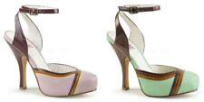 """PLEASER Pin Up Couture CUTIEPIE-01 Tri-Colour Trim Ankle Strap Pumps 4.5"""" Heels"""
