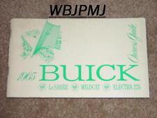 1965 Buick Wildcat, Electra 225 and LeSabre Factory GM Original Owners Manual