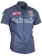 Viga reticulada de Luxe camisa camisa polo shirt bordadas Stick 80606 azul marino