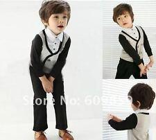 2 Piece boys outfit ,Long sleeve cotton mock shirt / vest & black pants size 2/3