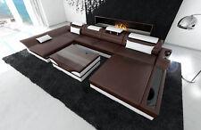 Ledercouch Design Sofa Wohnlandschaft MONZA U LED Beleuchtung dunkelbraun weiss