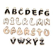 26Pcs Enamel Alphabet Charms Initial Letter Bracelet Jewelry DIY Craft Making`