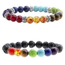 7 Chakra Bracelets Natural Stone Black Lava Beads Bracelet Women Men Balance Yog