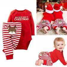 2PCS Baby Boy Girl 1st Christmas Romper Bodysuit Pants Set Xmas Costume Outfits