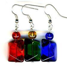 Multi Coloured Rainbow Earrings Crystal Glass