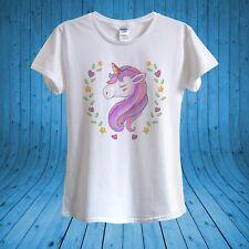 Pink Purple Unicorn Magical Pretty Cartoon T-shirt 100% Cotton unisex women