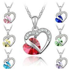 Halskette Herz Kette Silber Zirkonia Strass Kristalle Anhänger Damenkette Liebe