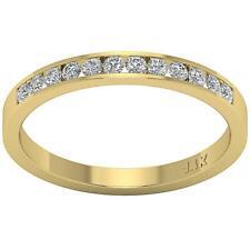 Cut Diamond 14K Yellow Gold Channel Set Anniversary Ring Vs1 E 0.40 Carat Round