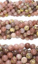50 Genuine Round Pink Lepidolite Natural Gemstone Stone Beads Small - Big