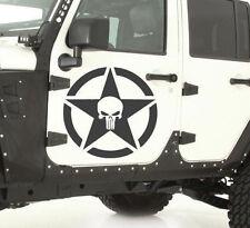 """PAIR of 17"""" Broken Star Skull Skulls hood side vinyl decal sticker Wrangler TJ"""
