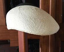 "Genuine Panama Hat Montecristi Flat cap ""Ivy"" natural Men Woman Straw Ecuador"