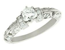 Natural 0,6 Ct Corte Redondo Anillo de Compromiso Diamante Vintage 14k Oro