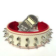 Echtleder Halsband mit Spitznieten, Handarbeit! french bulldog, mops, terrier