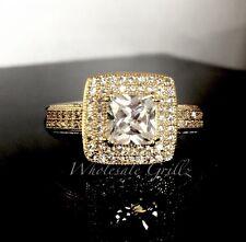Ladies 14k Gold gp Cushion Cut Simulate Diamond Micro Pave Womens Fashion Ring!!